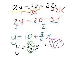 writing slope intercept form math rewrite an equation in form math algebra slope within slope intercept