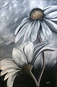 black and white daisy flower acrylic painting by trish jones