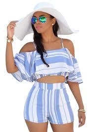 plus size short sets blue white stripes ruffle short set_short set_women set_sexy
