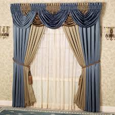 adorable curtain valance design alternative offering blue and gleaming gold accent combination with swag valance option along with sheer white lining