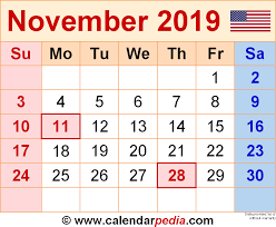 November November Calendar November 2019 Calendars For Word Excel Pdf