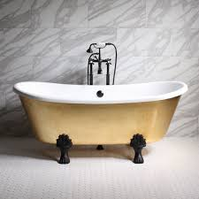 ramesses67 67 coreacryl white acrylic french bateau clawfoot tub with umber wash egyptian gold leaf exterior