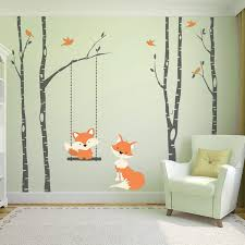 wall decal baby fox swing trees river birch woodland forest wallpaper wpt7009900