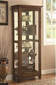 Amazon.com: Coaster Glass Shelves Curio China Cabinet, Cappuccino ...