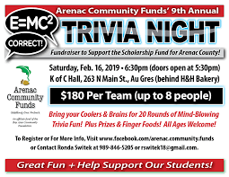 Acf Trivia Night Flyer 2019 Au Gres Area Chamber Of Commerce