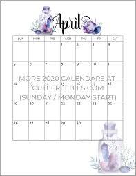 April 2020 Calendar Free Printable Crystals Cute Freebies