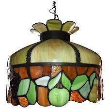 stained glass chandelier antique leaded fruit motif ca parts
