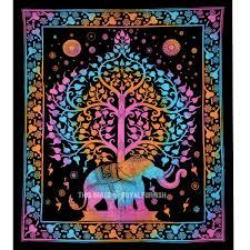 black blue tie dye elephant tree tapestry wall hanging dorm bedding bedspread