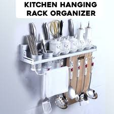 Kitchen hanging rack Wall Hanging Maqaamicom Kitchen Hanging Rack Organizer Maqaamicom