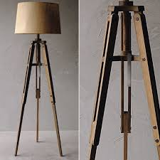 wood tripod floor lamp with burlap shade
