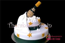New Year Cake Champagne Theme Cakes For New Year In Noida Delhi