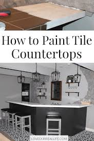 collage of images for painting brown tile countertops with white paint