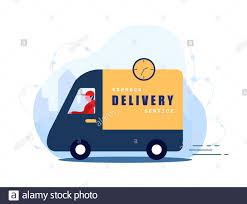 Express delivery service concept home and office. Fast courier on the car.  Shipping restaurant food, mail and packages. Modern vector illustration in  Stock Vector Image & Art - Alamy