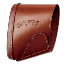 image of orvis leather recoil sleeve and pad brown