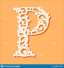 Laser Cut Template Initial Monogram Letters Fancy Floral