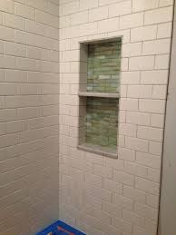 bathroom niches: the niche in the kids bathroom is installed but not yet grouted and im very happy with it here is a photo