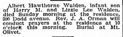 Death of Albert Hawthorne Walden - May 7, 1905 - Newspapers.com