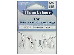 beadalon pinch pendant bail 22 mm silver plated 4 pc