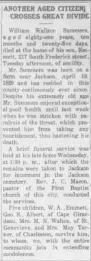 Obituary for William Wallace Summers - Newspapers.com