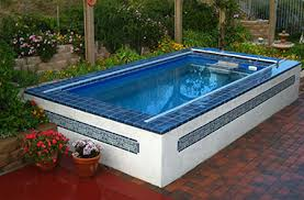 Exterior  Swimming Pool Water Rocks Plants Flowers Stairs Small Swimming Pool In Small Backyard