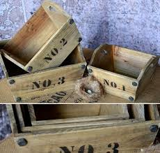 numbered wooden trug set of 3 rivet numeral basket