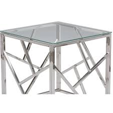 glass side table. Aero Chrome Glass Modern Side Table S