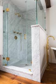 seamless glass shower door with antique brass hinges