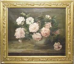 old oil painting pink and white flowers in vase with frame