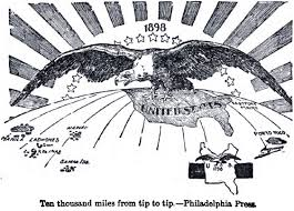 american imperialism  1898 political cartoon ten thousand miles from tip to tip meaning the extension of u s domination symbolized by a bald eagle from puerto rico to the