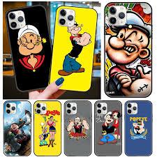 Cổ Điển Mỹ Hoạt Hình Dễ Thương Popeye Rau Chân Vịt Thủy Thủ Ốp Lưng Điện  Thoại iPhone 12 Mini 11 Pro X XS MAX XR 8 7 Plus SE2 Mềm Mại