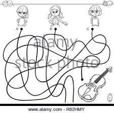 Bianco E Nero Cartoon Illustrazione Dei Percorsi O Labirinto Gioco