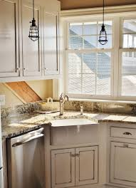 White Corner Kitchen Sink Decor Over Ideas Copper Light Fixtures