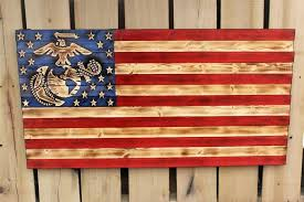 us marine corp rustic wooden flag american for