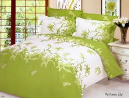 green bed sheets perfume lily fl white green bedding 6pc queen duvet
