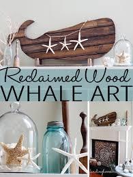reclaimedwoodwhaleartmantel thumb reclaimed wood whale art