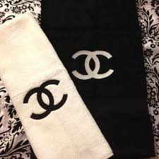 black and white bath towels. Chanel Inspired Embroidered Black And White Towels Set Of 2 - Extra Large Bath Towel A T