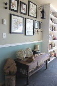 wall grouping, bench with pop color behind