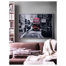 very large frame london bus from ikea black and white red wall picture