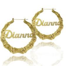 Gold Large Bamboo <b>Name Hoop Earrings</b> - Be Monogrammed