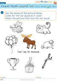 Free interactive exercises to practice online or download as pdf to print. Phonics Worksheets Lesson 7 Vowel Teams Oo