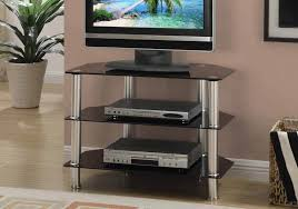 details about contemporary tv stand storage shelves up to 42 black glass silver metal frame