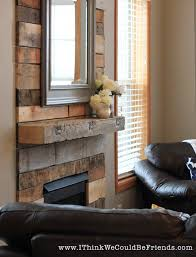 palette wood fireplace makeover looks like re claimed wood