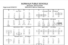 School Calendar 2015 16 Printable 2015 16 School Calendar Norwalk Public Schools