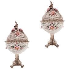 beautifully decorated pair of latticework capodimonte potpourri vases