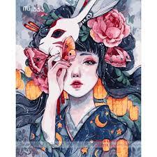 Tranh sơn dầu số hóa -tranh tô màu theo số- tranh cô gái mặt nạ thỏ, Tặng  khăn,khung gỗ - Các loại tranh khác Thương hiệu OEM