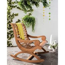 safavieh sonora teak brown outdoor patio rocking chair