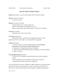 Apa Style Article Critique Example How To Write An Article Critique