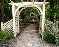 traditional white arbor from beech creek botanical gardens
