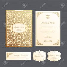 Invitation Envelope Template Wedding Invitation Or Greeting Card With Vintage Ornament Paper