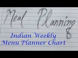 Weekly Menu How I Prepare my weekly meal plan Chart| Indian Meal Planner chart ...